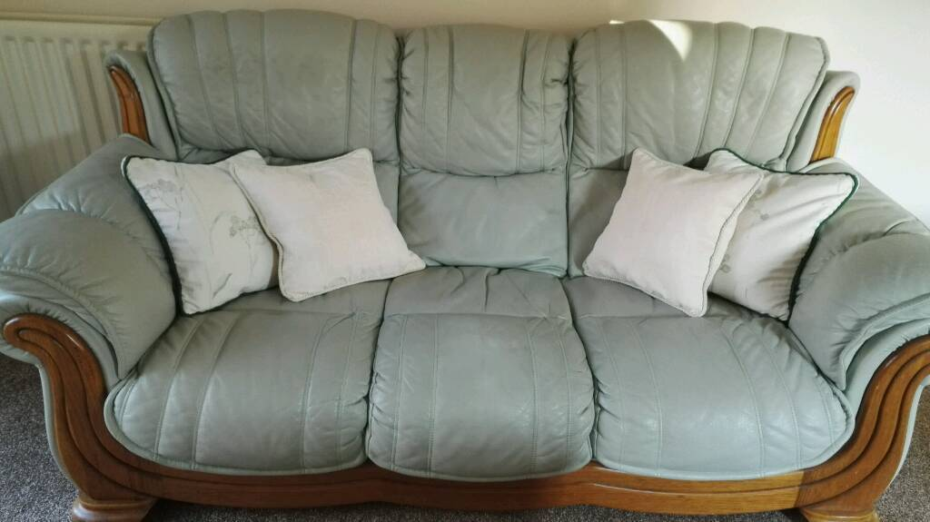 Pale Green Leather 3 seater and 1 Armchair.
