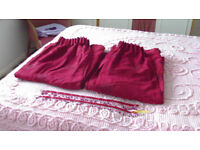 Pair Red Suede effect draw curtains with ribbon and bead tie backs