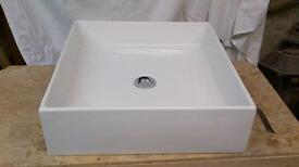 Square white porcelain basin 460 x460 x 140 deep