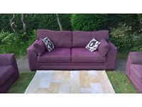 Ex-display Plum Natural Fabric 3 Seater Sofa and two Arm Chairs.