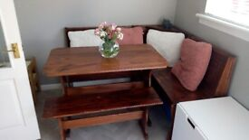 Corner bench pub style dining table