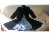 Ladies / Women's Windsmoor Long length Winter Coat in Black - Size 10. Wool Cashmere blend.