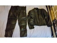 Real leather motorcycle trousers and jacket