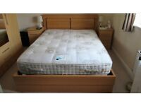 KINGSIZE OTTOMAN BED & MATTRESS - SOLID BEECH WOOD GAS FILLED RISERS - EXCELLENT CONDITION