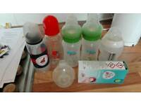 Used bottles and sterilising tablets