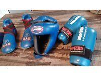 Martial arts/Fung Fu - Blue headguard, top Ten sparing gloves , kicks Adult M-L