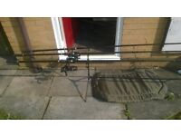 3 carp rods,pod unhooking mat