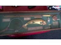 large fishing display.glass case 42in long,reproduction