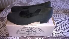 Black Canvas lace-up tap shoes-size 3&1/2 with AJK toe taps and a small heel.