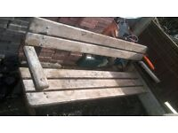 hard wood park bench and spare bench ends