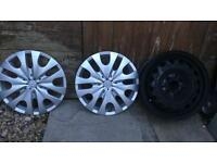 Two 14inch Citroen c1 silver wheel trims and One black 14inch steel wheel
