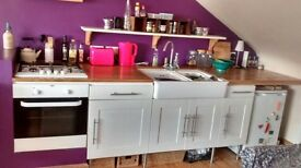 Small kitchen with oven, hob, sink and fridge for sale