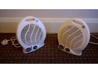 Two (Pair) 2kW Upright Fan Heater in White - Hardly used.