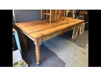 Vintage large farmhouse pine table