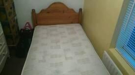 Single pine bed new mattress