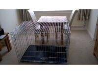 EXTRA LARGE DOG CAGE/CRATE/PUPPY PEN 2 DOORS IN SILVER AS NEW
