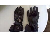 Adult Buffalo Black Leather Motorcycle Gloves