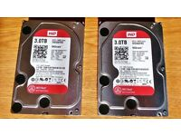 2x WD Red 3TB 3.5 Inch Hard Drives. SATA 6 Gb/s 64MB Cache