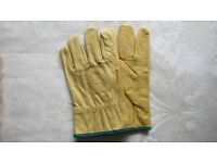 Leather Hide Gardening or Building Gloves Lined