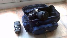 Nikon F-301 camera with lens and bag