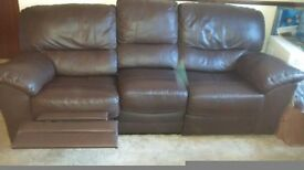 Three seater chocolate brown leather recliner sofa