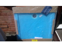 WHITE shower tray, unused, 90x90 (wrapped in blue plastic)