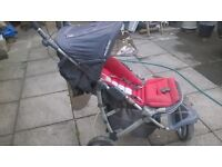 MacLaren red pushchair stroller buggy