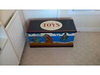 Childrens matching wooden toy chest and bookshelf