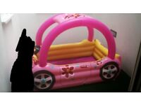 Paddling pool from mothercare , pink car with sun shade