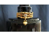 NEW - 23 Carat Gold Ring WITH HEART CHARM - Size O and 1/2.