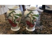 2 matching Portmeirion Pomona design 15cm vases