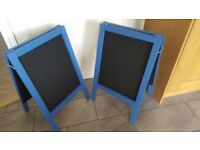 2 x Blue/Black Double Sided Wooden Chalkboards For Shops Cafes