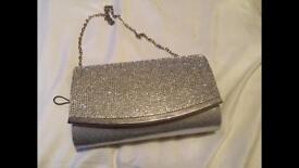 Silver diamante bag
