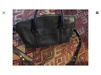 Luxury changing bag black leather