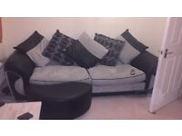 Grey and black Sofa, armchair and footstool