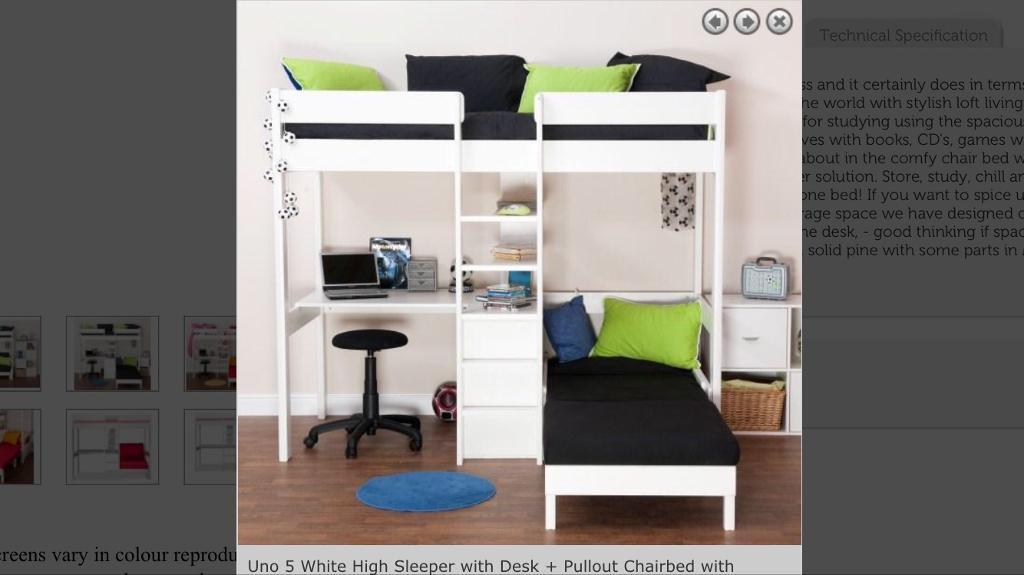 High sleeper bed with desk and pull out bed