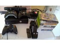 x box 360 with kinect bar consoles and games,