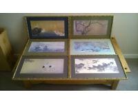 6 Japanese style (bamboo) framed prints