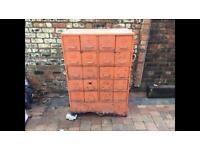 Old 1940s Industrial 20 Drawer Orange Metal Cabinet - Can Deliver