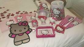 Hello Kitty bedroom accessories, lamp, light shade, picture frames, wall art, money box, alarm clock
