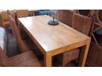 Beautiful Solid Mango Wood Dining Table and 6 Wicker Chairs