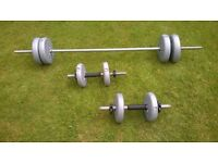 SET OF YORK BARBELL WEIGHTS
