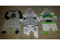 Mothercare Stormtrooper, buzz lightyear baby grows and a morrisons star wars babygrow