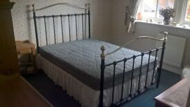 METAL FRAMED DOUBLE BED IN EXCELLENT CONDITION WITH GOOD CONDITION MATTRESS