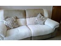 CREAM RECLING LARGE TWO SEATER SOFA