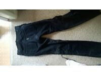 Leather Bike Trousers, black, size 10