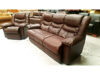 Leather sofa and recliner chair can deliver 07808222995