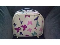 Butterfly Pattern Ladies Vanity Case with Carry Handle and Mirror