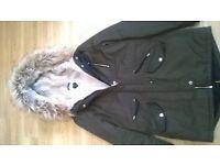 lovely warm fleece green parker coat