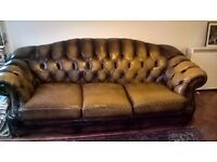 Chesterfield Three seater leather settee , needs attention for repair